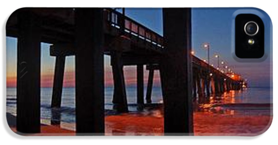 Palm IPhone 5 Case featuring the digital art Under The Gulf State Pier by Michael Thomas
