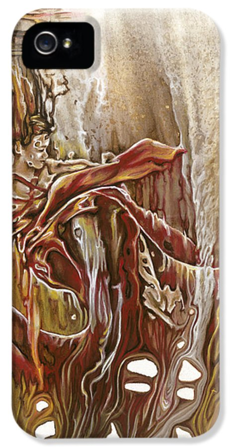 Red IPhone 5 Case featuring the painting Undertake by Karina Llergo