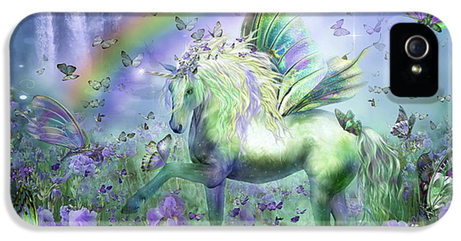 Unicorn IPhone 5 Case featuring the mixed media Unicorn Of The Butterflies by Carol Cavalaris