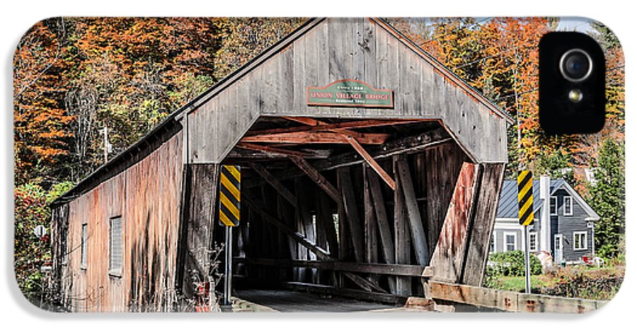 Thetford IPhone 5 Case featuring the photograph Union Village Covered Bridge Thetford Vermont by Edward Fielding