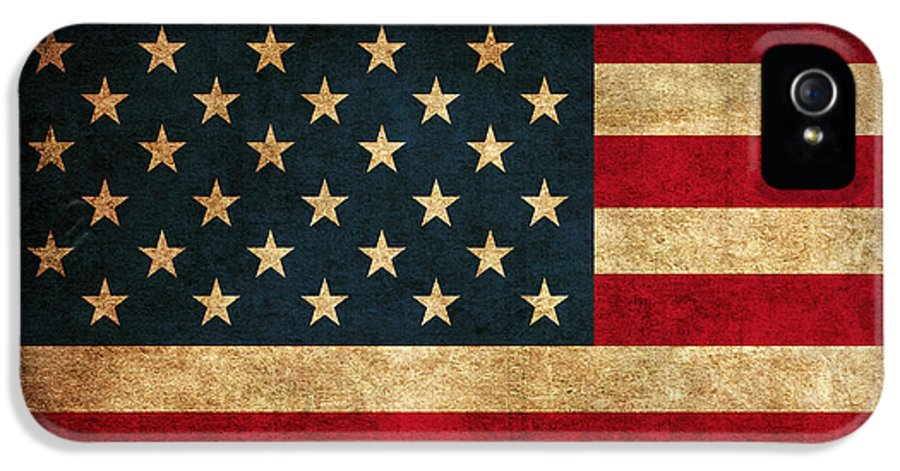 United States American Usa Flag Vintage Distressed Finish On Worn Canvas IPhone 5 Case featuring the mixed media United States American Usa Flag Vintage Distressed Finish On Worn Canvas by Design Turnpike