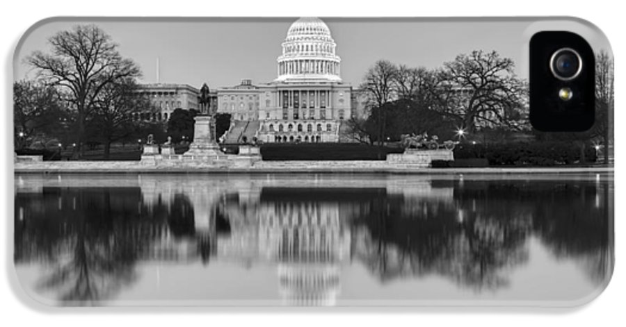 Capitol Hill IPhone 5 Case featuring the photograph United States Capitol Building Bw by Susan Candelario