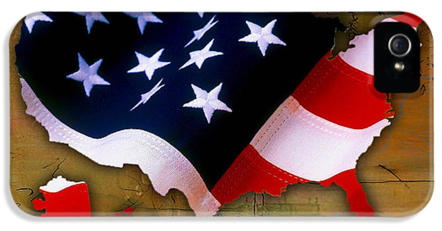 United States IPhone 5 Case featuring the mixed media United States Map by Marvin Blaine