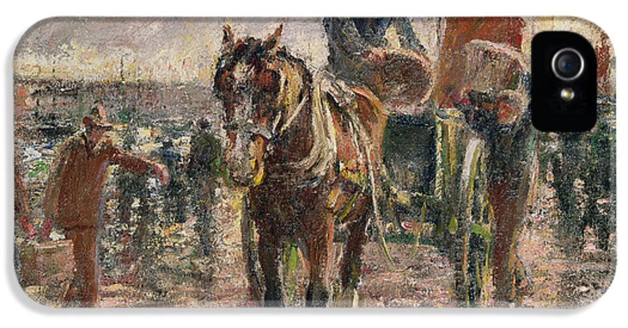 Horse IPhone 5 Case featuring the painting Unloading The Catch by Harry Fidler