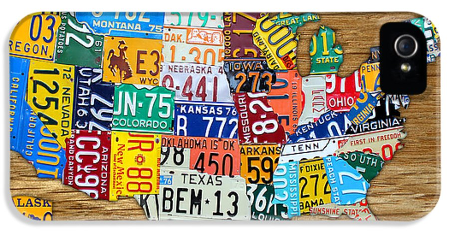 License Plate Map IPhone 5 Case featuring the mixed media Usa License Plate Map Car Number Tag Art On Light Brown Stained Board by Design Turnpike