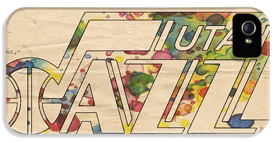 Utah Jazz IPhone 5 Case featuring the painting Utah Jazz Retro Poster by Florian Rodarte