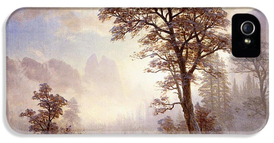 Albert Bierstadt IPhone 5 Case featuring the painting Valley Of The Yosemite Snow Fall by Albert Bierstadt