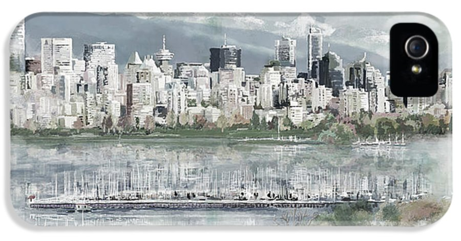 Skyline IPhone 5 Case featuring the painting Vancouver Skyline by Maryam Mughal