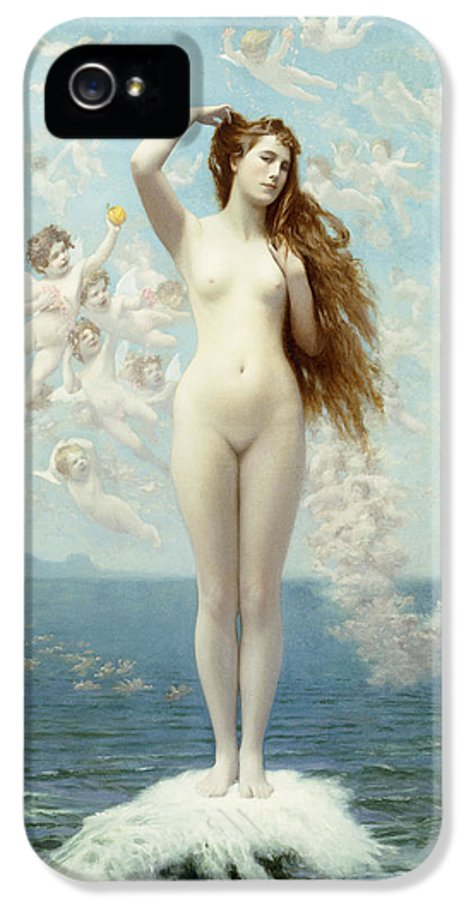 Academic IPhone 5 Case featuring the painting Venus Rising The Star by Jean Leon Gerome