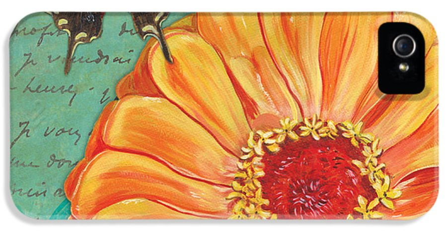 Floral IPhone 5 / 5s Case featuring the painting Verdigris Floral 1 by Debbie DeWitt