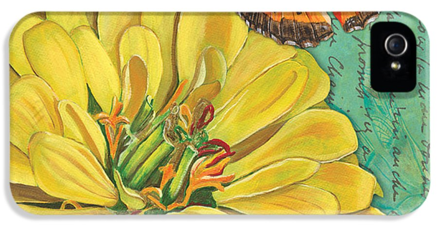 Floral IPhone 5 / 5s Case featuring the painting Verdigris Floral 2 by Debbie DeWitt