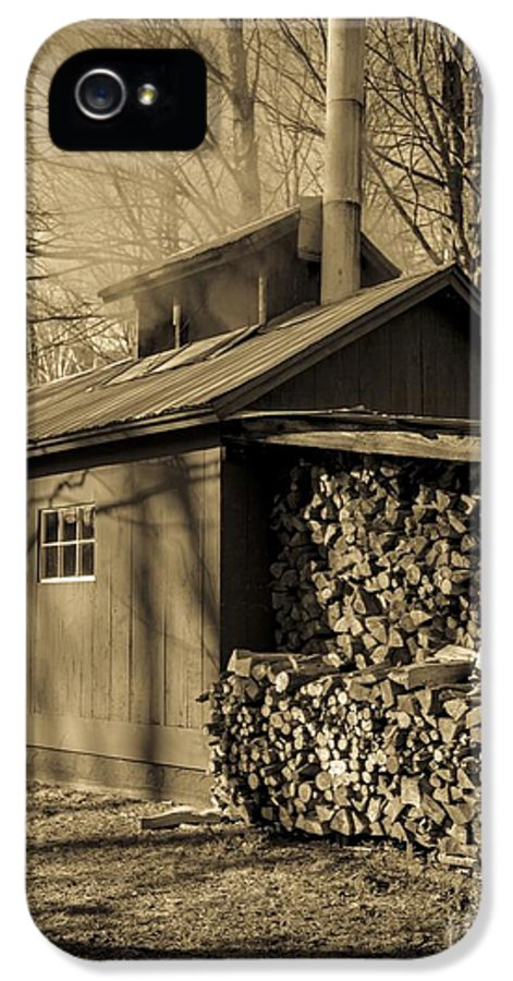 Maple IPhone 5 Case featuring the photograph Vermont Maple Sugar Shack Circa 1954 by Edward Fielding