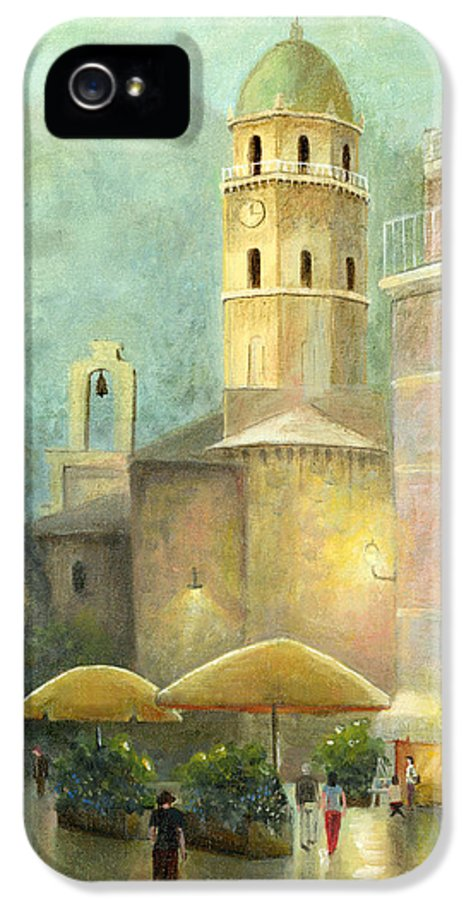 Cecilia Brendel's Original Canvas Print Painting Vernazza IPhone 5 Case featuring the painting Vernazza Italy by Cecilia Brendel