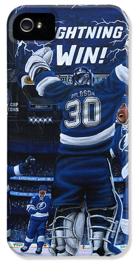 Hockey IPhone 5 Case featuring the painting Victory by Marlon Huynh