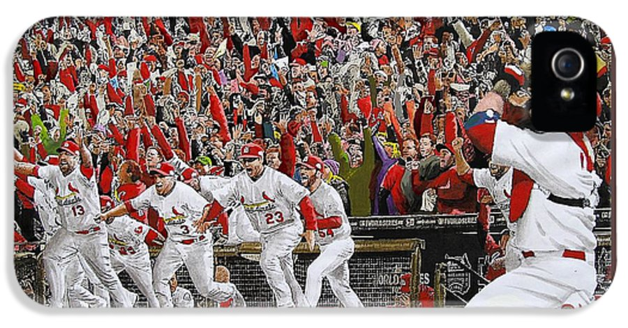 Baseball IPhone 5 Case featuring the painting Victory - St Louis Cardinals Win The World Series Title - Friday Oct 28th 2011 by Dan Haraga