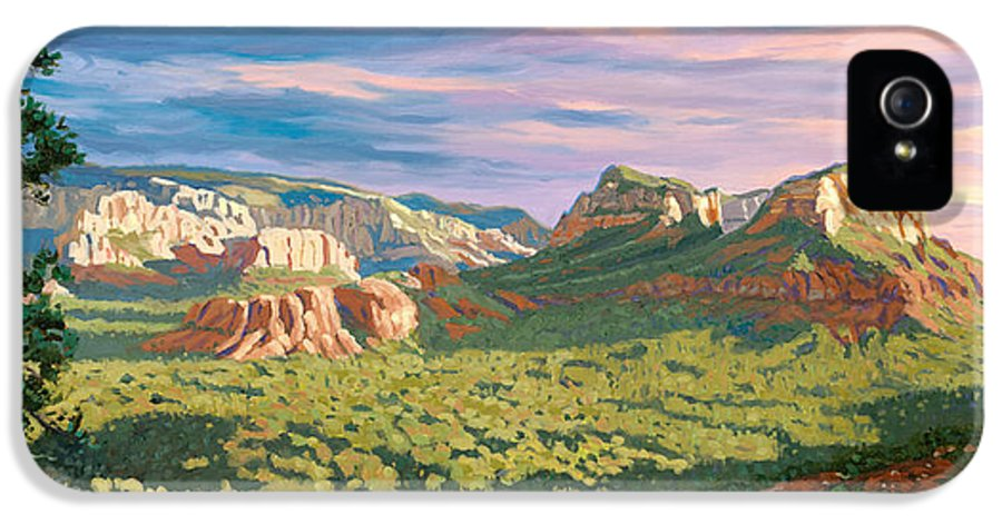 Sedona IPhone 5 Case featuring the painting View From Airport Mesa - Sedona by Steve Simon