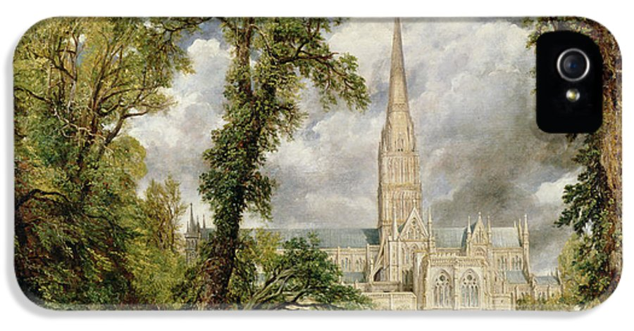 View Of Salisbury Cathedral From The Bishops Grounds IPhone 5 Case featuring the painting View Of Salisbury Cathedral From The Bishop's Grounds by John Constable
