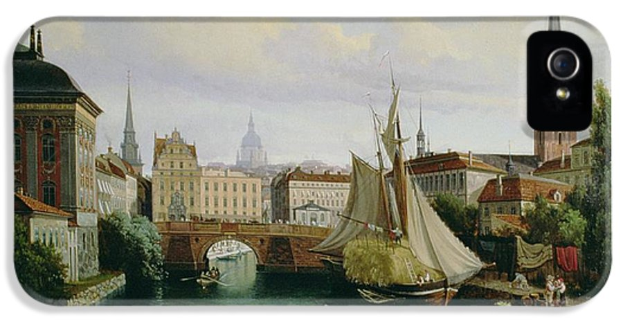 Town IPhone 5 Case featuring the painting View Of The Riddarholmskanalen by Gustav Palm