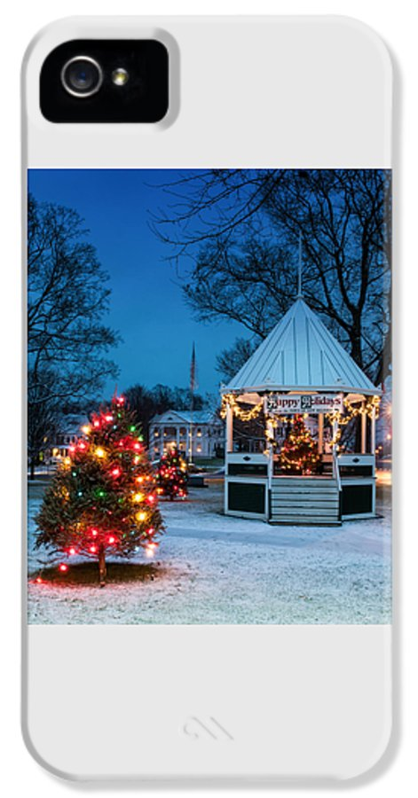 New England IPhone 5 Case featuring the photograph Village Green Holiday Greetings- New Milford Ct - by Thomas Schoeller