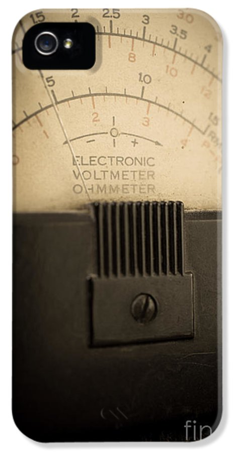 Volts IPhone 5 Case featuring the photograph Vintage Electric Meter by Edward Fielding