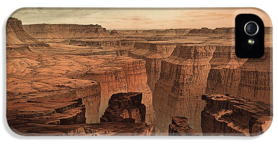 Grand Canyon National Park IPhone 5 Case featuring the drawing Vintage Print Of The Grand Canyon By William Henry Holmes - 1882 by Blue Monocle