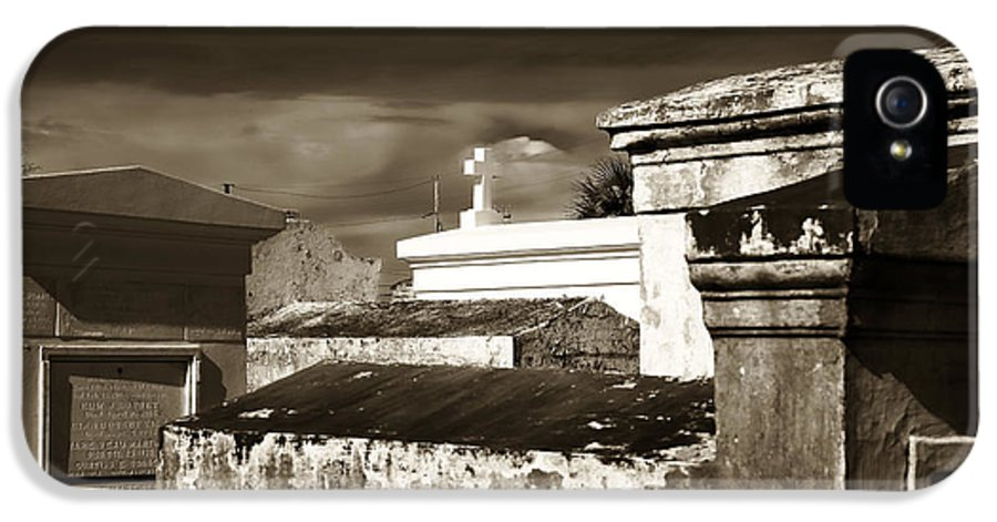 Vintage St. Louis Cemetery IPhone 5 Case featuring the photograph Vintage St. Louis Cemetery by John Rizzuto