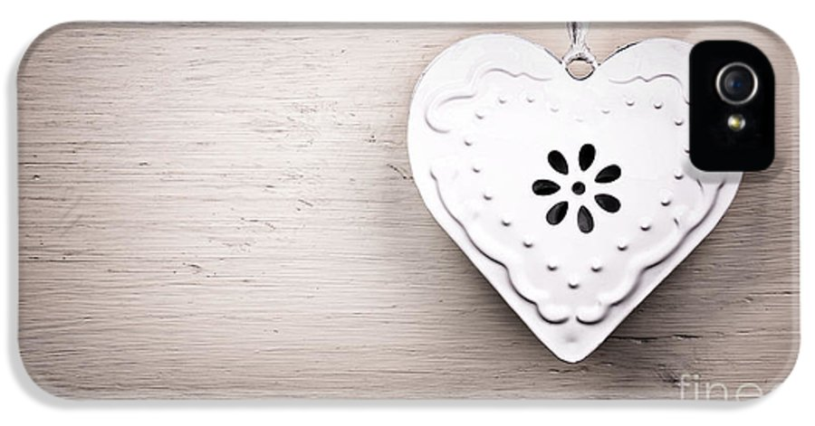 Background IPhone 5 Case featuring the photograph Vintage Tin Heart by Jane Rix