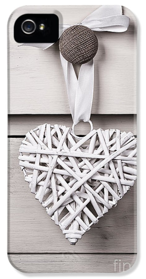 Aged IPhone 5 Case featuring the photograph Vintage Wicker Heart by Jane Rix