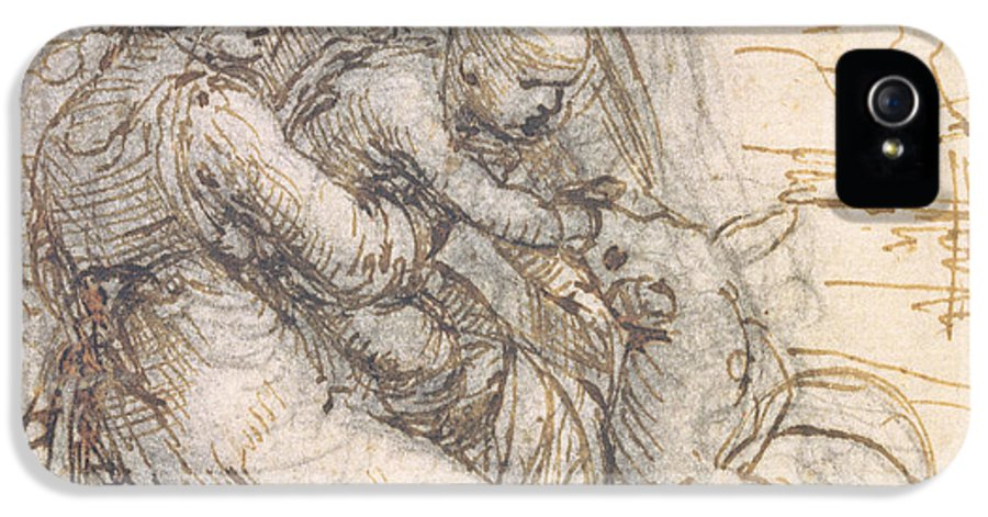 Madonna IPhone 5 Case featuring the drawing Virgin And Child With St. Anne by Leonardo da Vinci