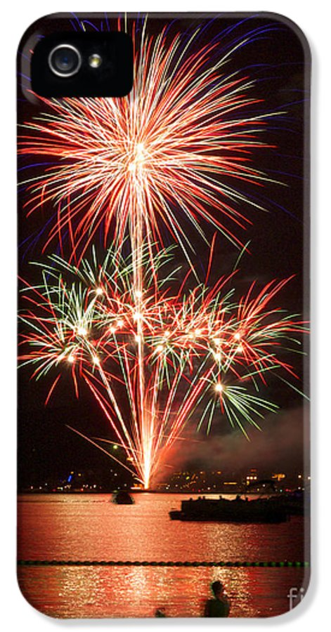 Fireworks IPhone 5 Case featuring the photograph Wading View Of Fireworks by Mark Miller