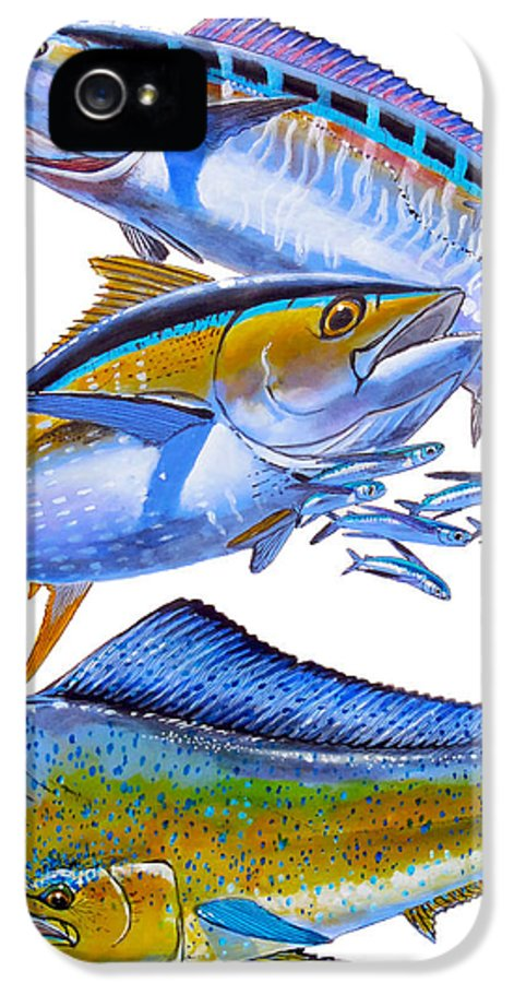Wahoo IPhone 5 Case featuring the painting Wahoo Tuna Dolphin by Carey Chen