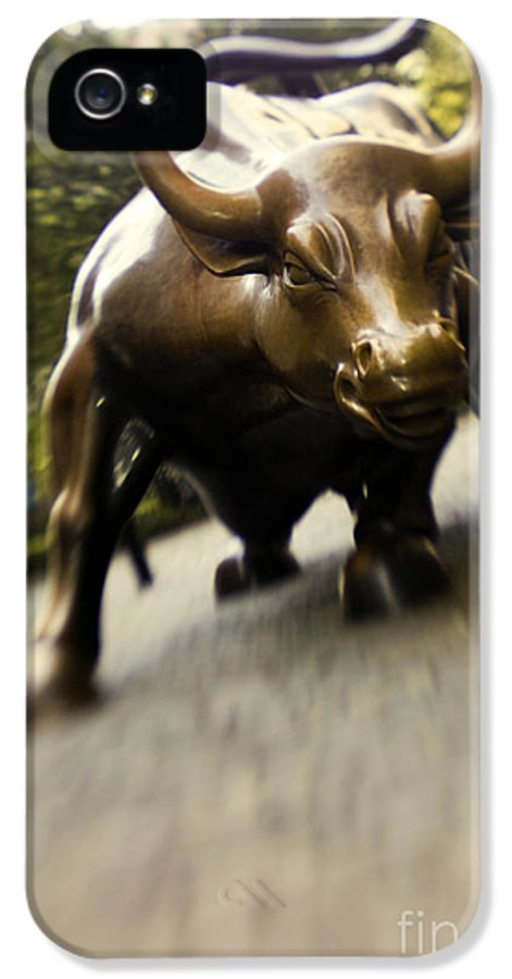 Wall IPhone 5 Case featuring the photograph Wall Street Bull by Tony Cordoza