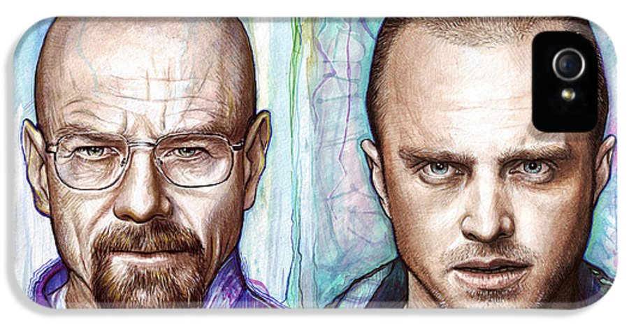 Breaking Bad IPhone 5 Case featuring the painting Walter And Jesse - Breaking Bad by Olga Shvartsur