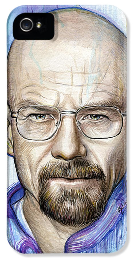 Breaking Bad IPhone 5 Case featuring the painting Walter White - Breaking Bad by Olga Shvartsur