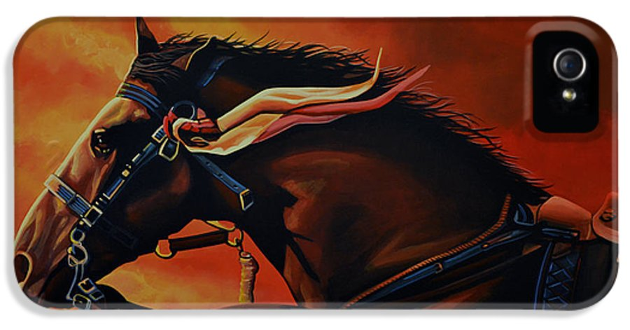 War Horse Joey IPhone 5 Case featuring the painting War Horse Joey by Paul Meijering