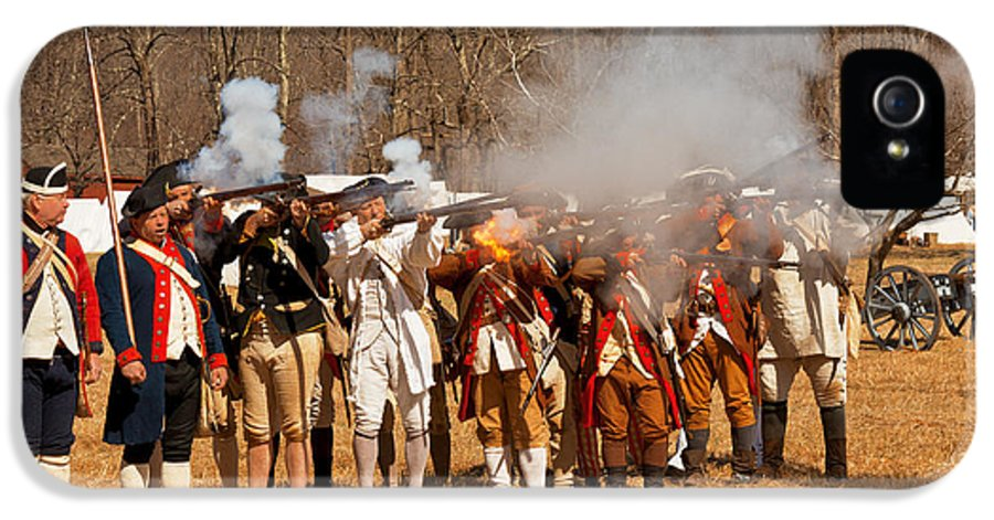 Revolution IPhone 5 Case featuring the photograph War - Revolutionary War - The Musket Drill by Mike Savad