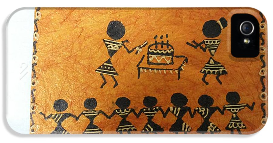 Warli Is An Ancient Tradition Of Painting. Trademark Of Warli Is The Use Of Geometric Designs Such As Triangles IPhone 5 Case featuring the painting Warli Birthday by Deepika B
