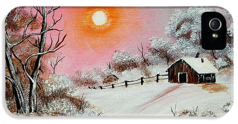 Warm Winter Day IPhone 5 Case featuring the painting Warm Winter Day After Bob Ross by Barbara Griffin