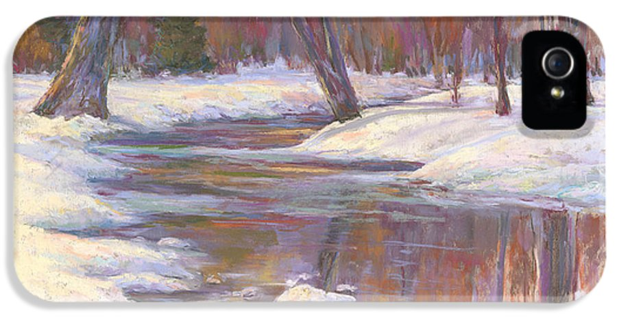 Snow And Stream IPhone 5 Case featuring the painting Warm Winter Reflections by Billie Colson