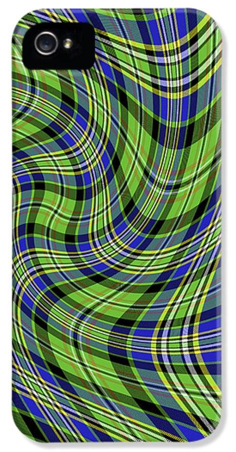 Gregscott IPhone 5 Case featuring the digital art Warped Scott Ancient Green Tartan by Gregory Scott