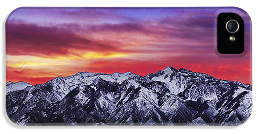 Sky IPhone 5 Case featuring the photograph Wasatch Sunrise 2x1 by Chad Dutson