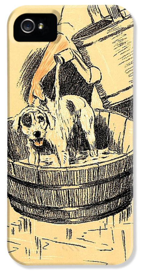 Cecil Aldin IPhone 5 Case featuring the pastel Washed By Mary - A Dog Day Collection 4 Of 27 by Cecil Aldin