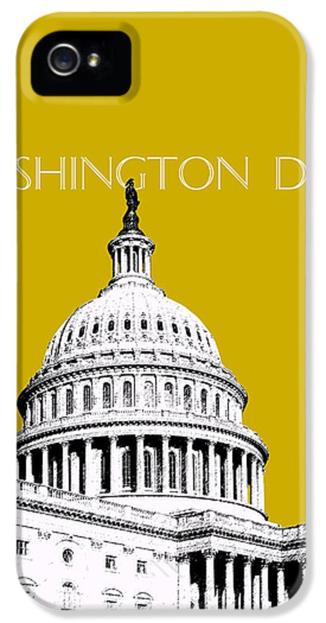 Architecture IPhone 5 Case featuring the digital art Washington Dc Skyline The Capital Building - Gold by DB Artist