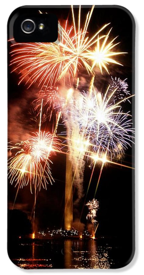 National Mall & Memorial Parks IPhone 5 Case featuring the photograph Washington Monument Fireworks 2 by Stuart Litoff