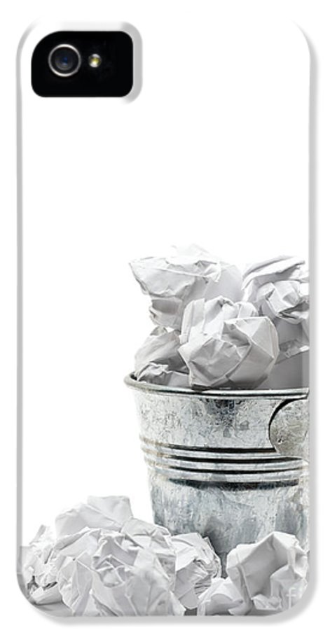 Garbage IPhone 5 Case featuring the sculpture Waste Basket With Crumpled Papers by Shawn Hempel