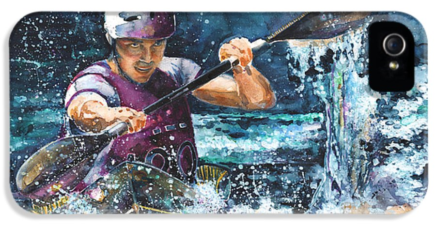 Sports IPhone 5 / 5s Case featuring the painting Water Fight by Miki De Goodaboom