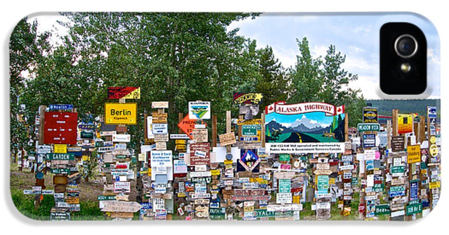 Watson Lake Sign Forest IPhone 5 Case featuring the photograph Watson Lake Sign Forest Along Alaska Highway In Yukon-canada by Ruth Hager