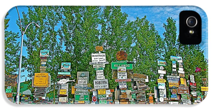 Watson Lake Sign Forest IPhone 5 Case featuring the photograph Watson Lake Sign Forest-yt by Ruth Hager