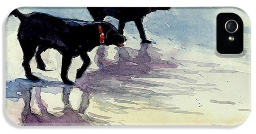 Black Dogs IPhone 5 Case featuring the painting Waverunners by Molly Poole