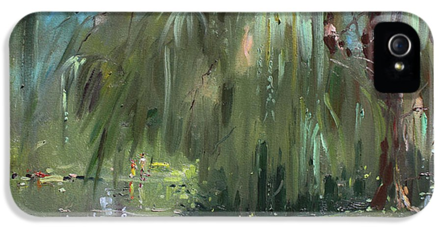 Trees By The Lake IPhone 5 Case featuring the painting Weeping Willow Tree by Ylli Haruni